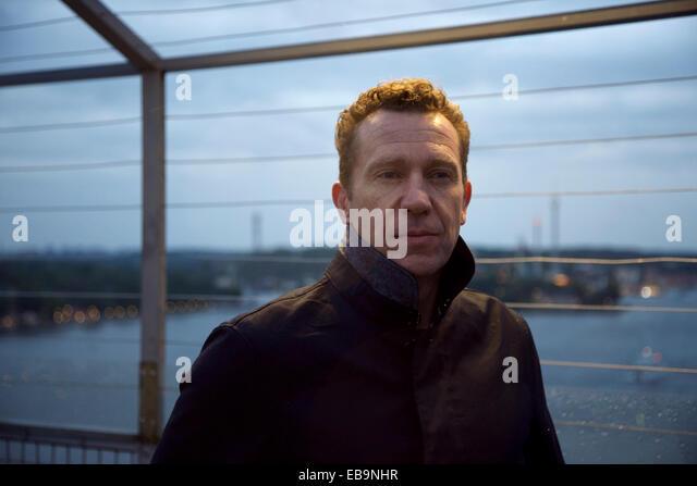 Portrait of Man on Observation Deck, Stockholm, Sweden - Stock Image