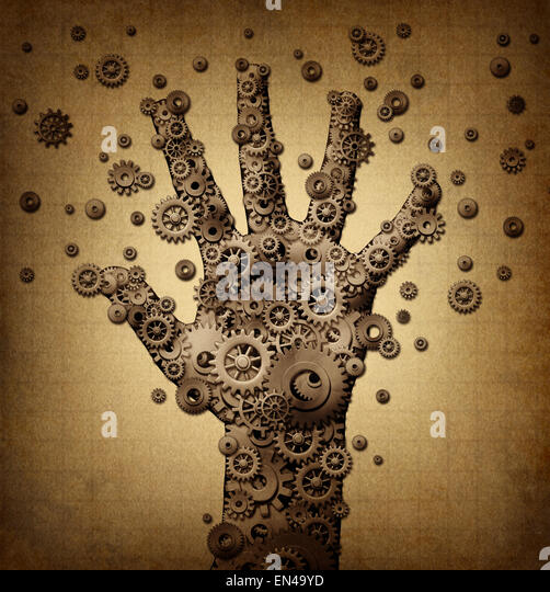 Technology touch concept and robotics or robot symbol as a group of mechanical gears and gog machine wheels shaped - Stock-Bilder
