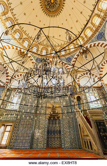 Turkey, Istanbul, Rustem Pasha Camii, Interior of mosque. - Stock Image