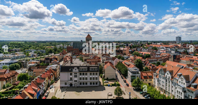 Skyline of Rostock , View from tower of Petri church, background Nikolaikirche, Mecklenburg-Vorpommern, - Stock Image