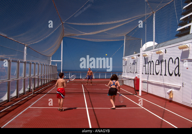 Bahamas Atlantic Ocean Holland America Line ms Maasdam cruise ship Sports Deck family tennis - Stock Image