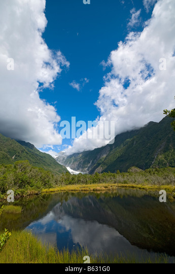 The Franz Josef Glacier from Peters Pool, South Island, New Zealand - Stock Image