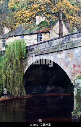 The Dropping Well Inn in autumn, Knaresborough, North Yorkshire, England, United Kingdom, Europe - Stock Image