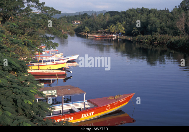 Jamaica Negril Boats on Negril River - Stock Image