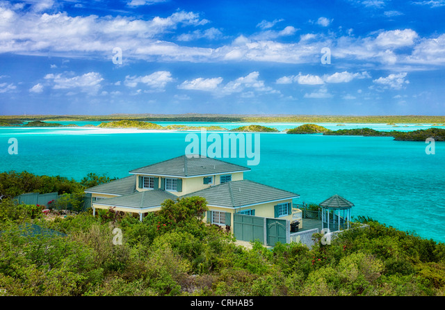 House on Chalk Sound. Providenciales. Turks and Caicos. - Stock-Bilder