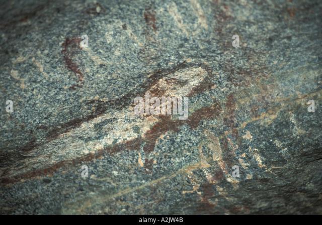 Aruba Arikok National Park Arawak petroglyph at Cunucu Arikok - Stock Image