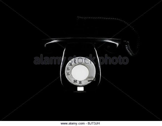 Black retro telephone - Stock Image