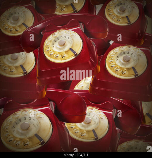 Full Frame Shot Of Red Rotary Phones - Stock Image