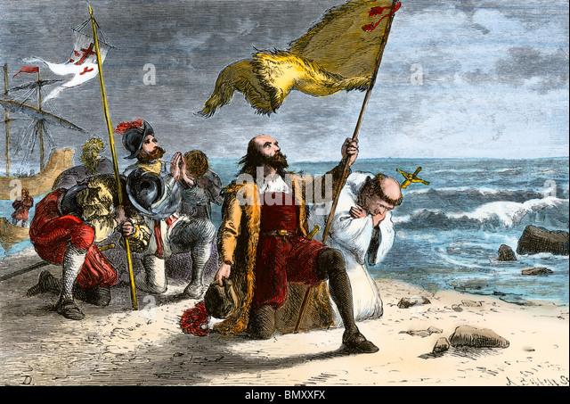 First landing of Columbus in the New World, 1492 - Stock-Bilder
