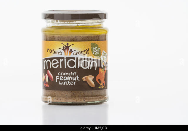 free from palm oil food product - Meridian no palm oil peanut butter - Stock Image
