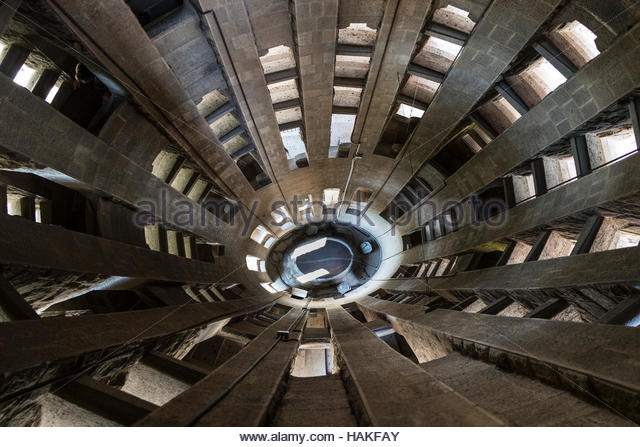 Interior of La Sagrada Familia in Barcelona, Spain - Stock Image