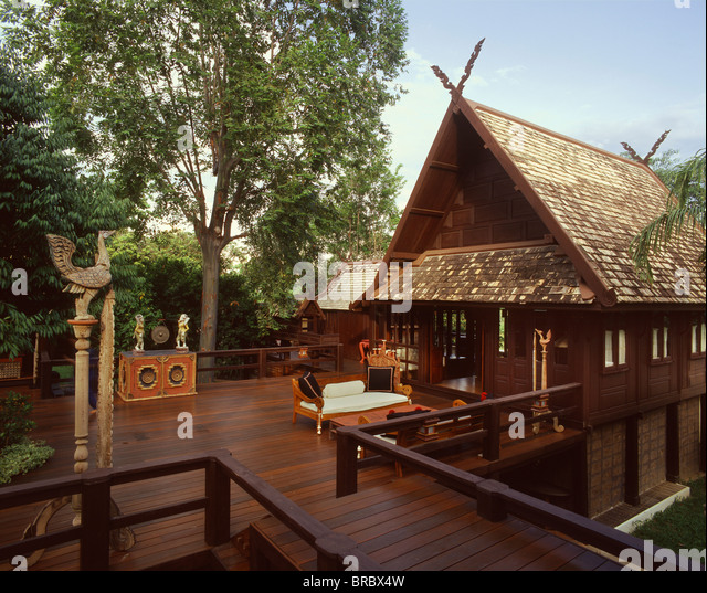 Thai wooden house stock photos thai wooden house stock for Thai classic house 2
