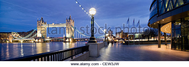 Tower Bridge from the South Bank, London - Stock Image