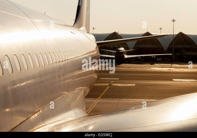 Airplane on the ground at Bangkok International Airport, Thailand, Asia - Concept of air travel - Stock-Bilder