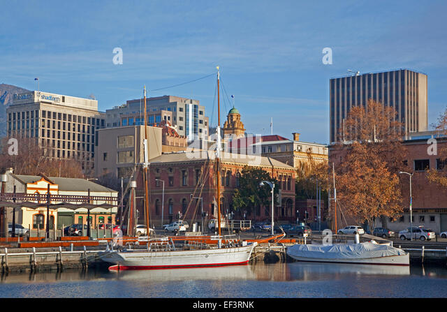 Sailing ship and yacht docked in the Hobart harbour, Tasmania, Australia - Stock Image