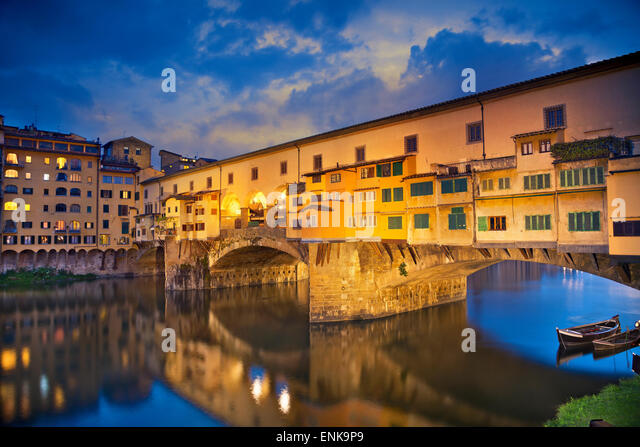 Florence. Image of Ponte Vecchio in Florence, Italy  at dusk. - Stock Image