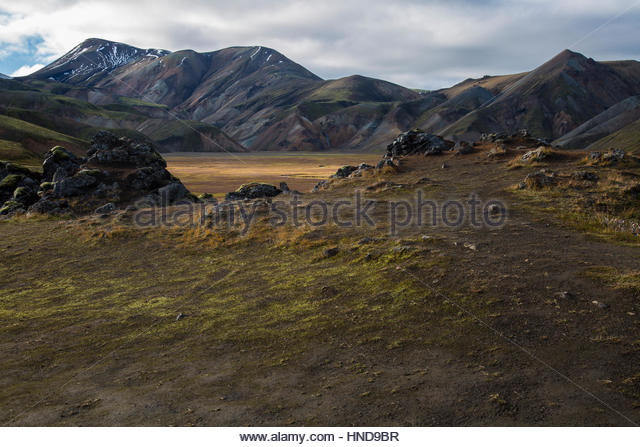 Iceland, Highlands Lava Field Daylight - Stock Image