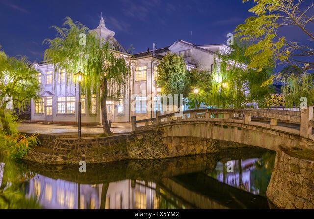 Kurashiki, Okayama, Japan old town canals. - Stock Image