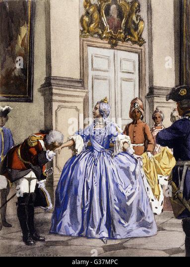 Casanova kisses the hand of a Russian  aristocrat         Date: mid 18th century - Stock Image