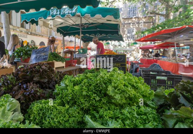 Market an Place Richelme, Salades, , Aix en Provence, Bouche du Rhone, France - Stock Image