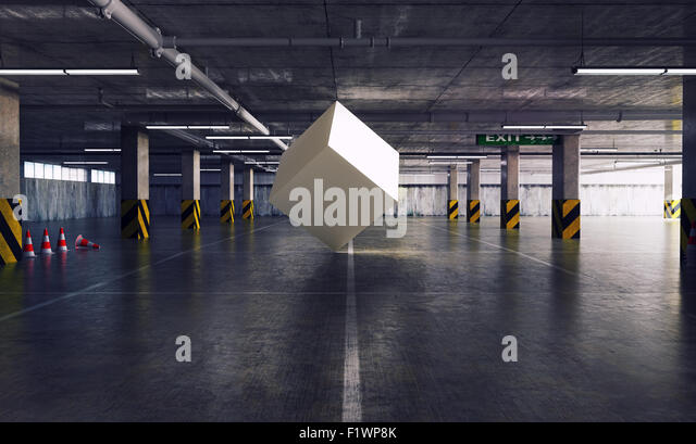 geometric figure cube in the parking. 3d creative concept - Stock-Bilder