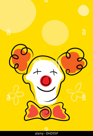 Happy clown with white face mask and red nose on yellow background - Stock Image