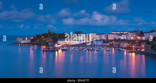 Tenby Harbour Tenby Pembrokeshire Wales at twilight - Stock Image