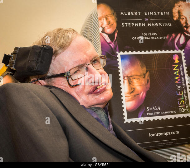 Stephen Hawking, Malcolm Perry, at Starmus festival where the Isle of Man post Office announced the launch of a - Stock Image
