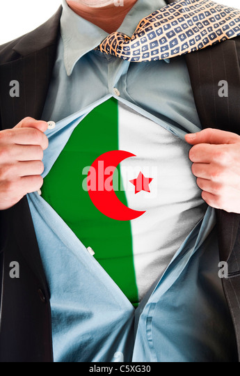 Business man showing Algeria flag shirt - Stock Image
