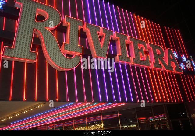 Nevada Las Vegas The Strip South Las Vegas Boulevard Riviera Casino & Hotel neon sign exterior night nightlife - Stock Image