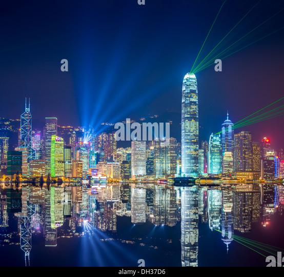 Hong Kong skyline at Victoria Harbor. - Stock-Bilder