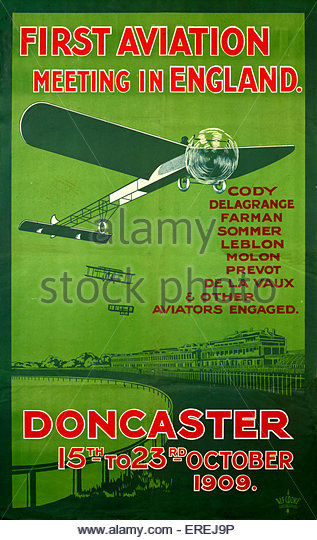 Poster for the First Aviation Meeting in England, Doncaster 15th-23rd October 1909. The meeting conflicted with - Stock Image
