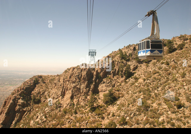 Albuquerque New Mexico Sandia Peak Aerial Tramway world's longest view from one tram to another W - Stock Image