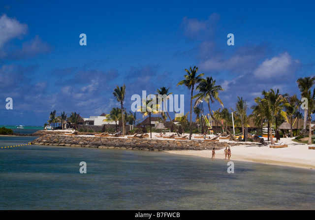 Private beach of Luxery Hotel Four Seasons in Ananhita Mauritius Africa - Stock Image