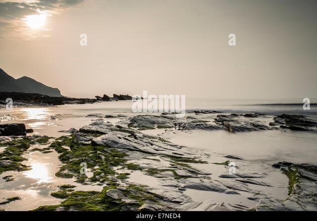 Crackington haven low tide North Cornwall - Stock Image