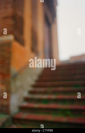 Soft focus outdoor stairs in Florence, Italy - Stock Image
