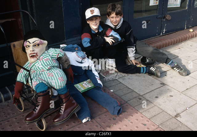 Boys collecting for  'Penny for the guy' - Stock Image