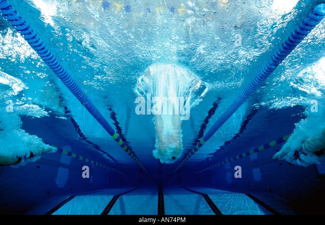 A Swim Team Practices At Mount Lebanon High School, Pittsburgh, Pennsylvania, Usa., - Stock Image