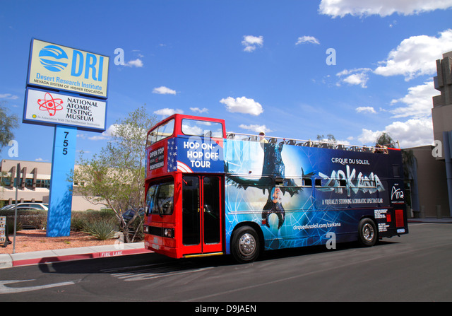 Nevada Las Vegas Flamingo Road National Atomic Testing Museum nuclear weapons development Area 51bus coach double - Stock Image