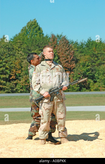 Army airborne rangers fighting during military demonstration Taccoa ...