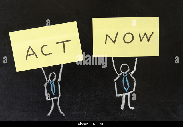 Chalk drawing - Act now - Stock Image