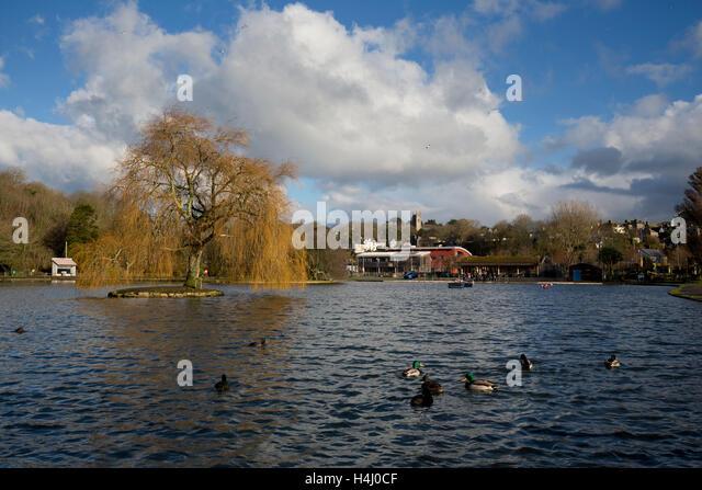 Helston Boating Lake; Cornwall; UK - Stock Image