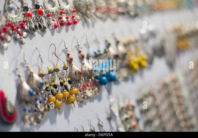Earrings for sale in Place Djemaa El Fna Square, Marrakech, Morocco, North Africa, Africa - Stock Image