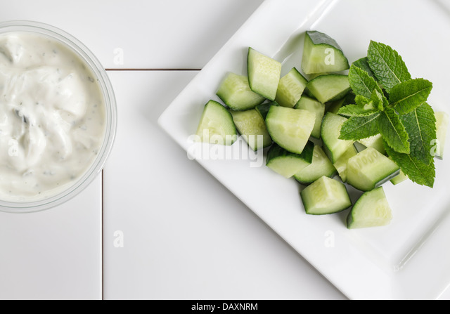 Tzatziki with cucumber and mint - Stock Image
