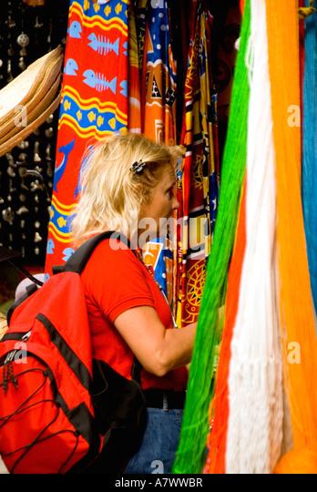 Puerto Costa Maya  Mahahual Majahual shops tourist shopping - Stock Image