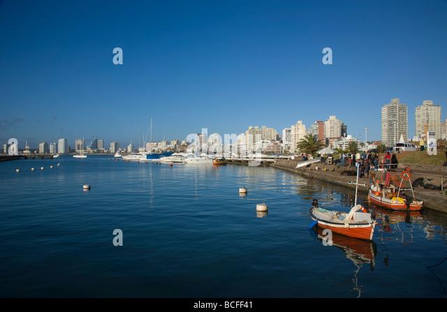 Port and sailing boats, Punta del Este, Uruguay - Stock Image