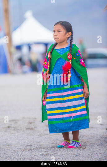 Native American girl takes part at the 25th Annual Paiute Tribe Pow Wow - Stock Image