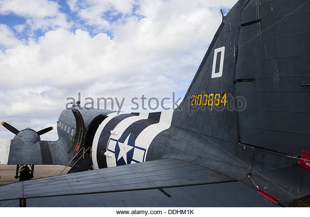 Douglas C-47 Skytrain (Dakota) transport aircraft, Shoreham Airshow, August 2013 - Stock Image