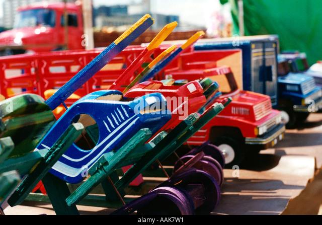 Wood toys TV Tower Flea Market Brasilia Brazil - Stock Image