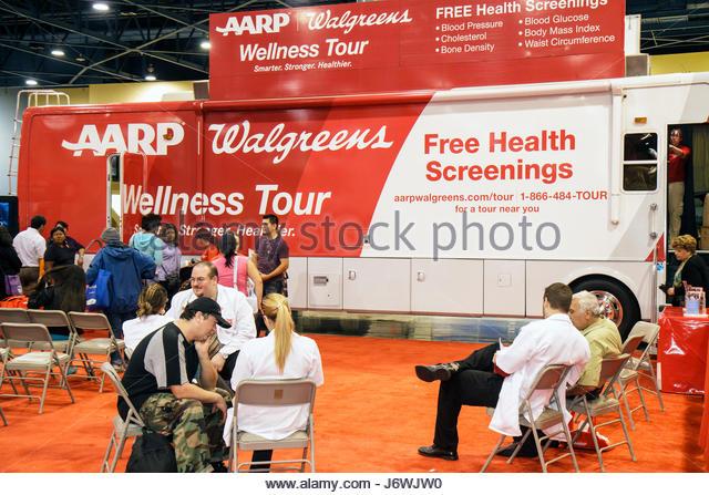 Miami Beach Miami Florida Beach Convention Center centre Health and Fitness Expo exhibitors free screening - Stock Image